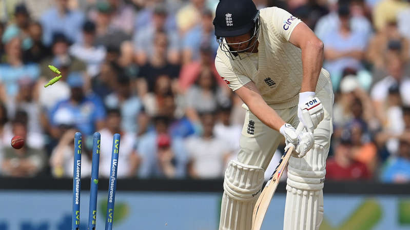 a close up of a man in a match: Jonny Bairstow is bowled for a duck on the final day of the fourth Test against India.