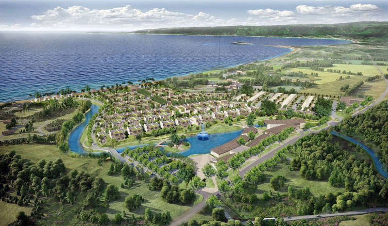 a view of a large body of water: An artist's impression of Hong Kong-based MG Group's 206-unit villa project One Melebay in Port Vila, Vanuatu's capital. Photo: Handout