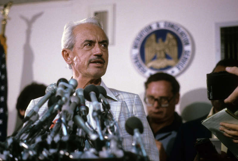 Marvin Miller standing in front of a mirror posing for the camera: In the 1970s, Marvin Miller led the Major League Baseball Players Association in an ultimately successful fight for free agency that revolutionized professional sports. (Photo by Focus on Sport/Getty Images)