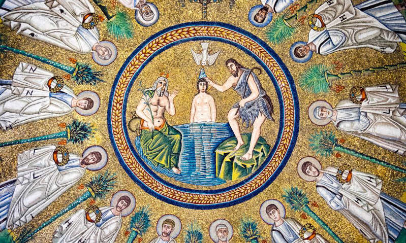 Mosaic of the baptism of Jesus, in the Arian Baptistry in Ravenna. Photograph: Michael Honegger/Alamy