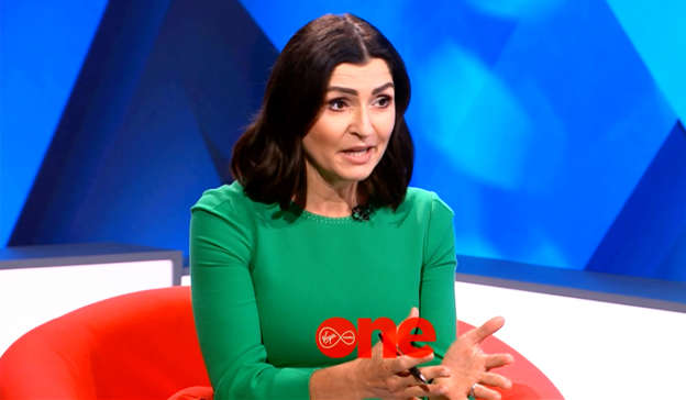 a woman sitting in front of a computer screen: Now, Virgin Media News Anchor Colette Fitzpatrick will grill the former journalist on Ian Bailey: The Big Interview next Monday, September 13. Pic: Virgin Media Television