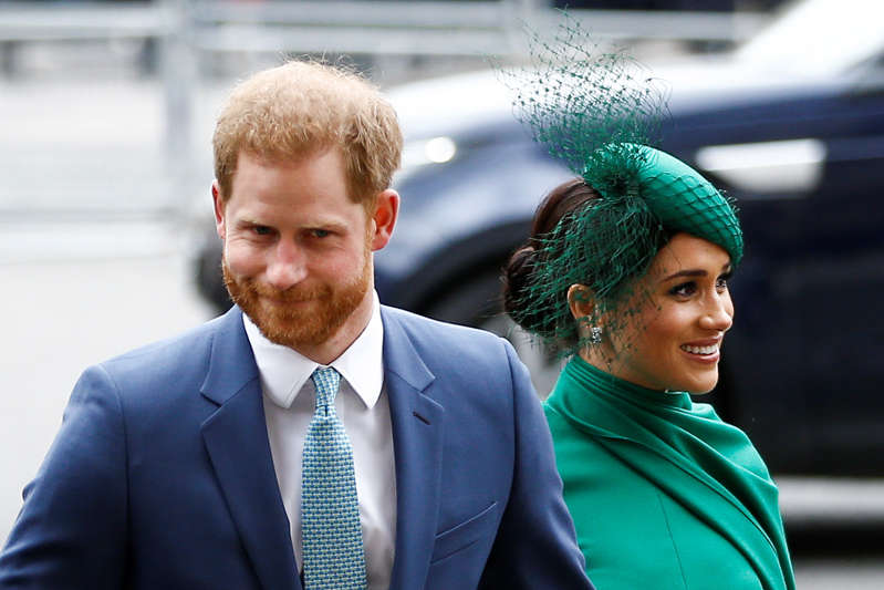 File: Britain's Prince Harry and Meghan, Duchess of Sussex, arrive for the annual Commonwealth Service at Westminster Abbey in London, Britain March 9, 2020. REUTERS/Henry Nicholls