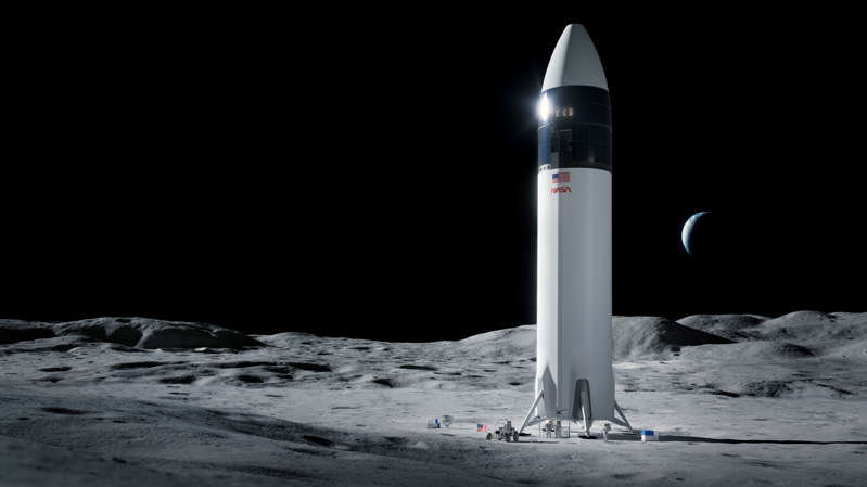 a close up of a light house on a beach: NASA's decision to award SpaceX a contract to design the lander that will carry the first American astronauts to the moon since 1972 touched off what has become open warfare between Elon Musk and Jeff Bezos. This illustration shows SpaceX's Starship human lander on the moon. (SpaceX/NASA/Associated Press)