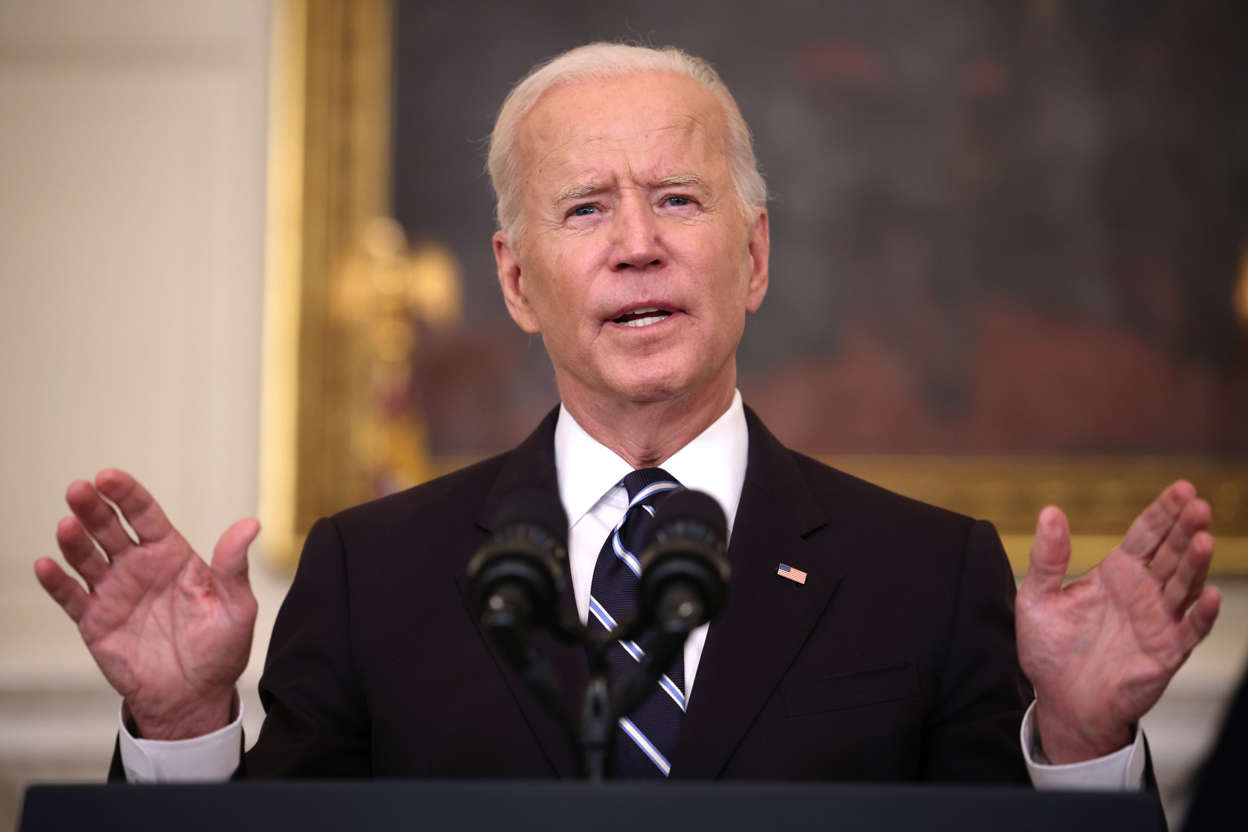 Joe Biden wearing a suit and tie: U.S. President Joe Biden speaks about combatting the coronavirus pandemic in the State Dining Room of the White House on September 9, 2021 in Washington, DC. Biden's executive order on federal employees does not apply to Congress.