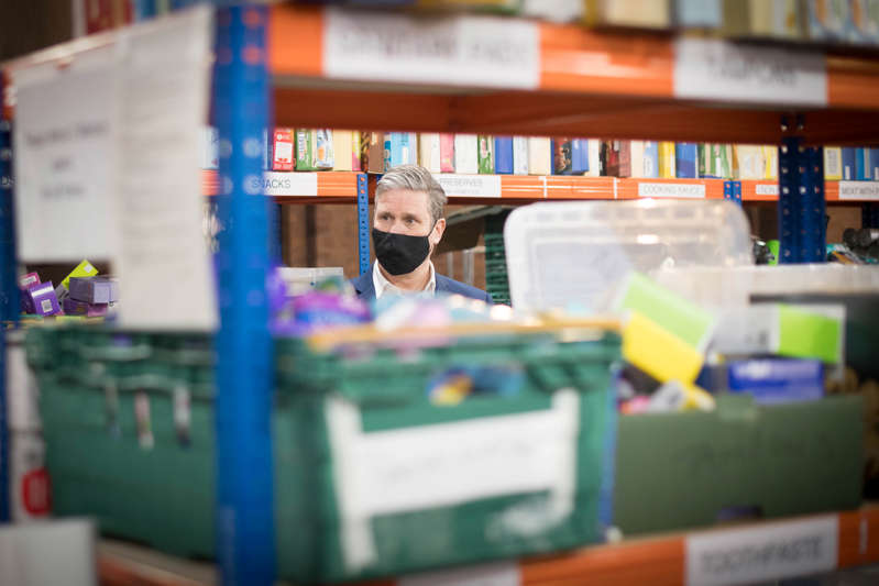 File:  British Labour Party leader Keir Starmer visits a food bank distribution centre in St Margaret The Queen church in Streatham, south London, Britain