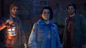 """a group of people posing for the camera: In """"Life Is Strange: True Colors,"""" the narrative's take on social anxiety and the experience individuals go through with self-hatred and doubt is much deeper than what you usually see portrayed in video games."""