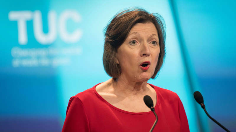Frances O'Grady wearing a blue shirt: Frances O'Grady delivered her TUC conference speech on Monday