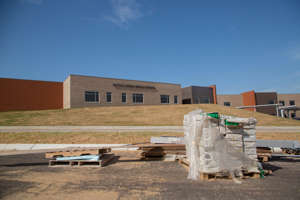 a pile of sand: The construction of Battle Creek Middle School nears completion on Wednesday, May 29, 2019.