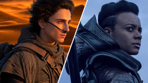 a man and a woman looking at the camera: The Protagonists of Dune (Paul Atreides/Timothee Chalamet) and Foundation (Salvor Hardin/Leah Harvey)