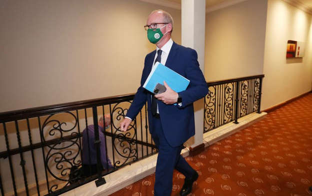 a person wearing a costume: Minister for Foreign Affairs and Minister for Defence Simon Coveney arrives at the Fine Gael party 'Think in' event at the Trim Castle Hotel in Co Meath. Picture date: Monday September 13, 2021.