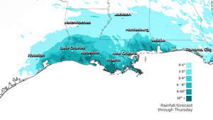 map: More than 10 inches of rain could fall in parts of south Louisiana by Thursday.