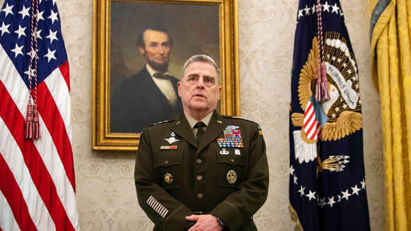 Mark A. Milley wearing a military uniform: Gen Mark Milley is reported to have taken secret action to limit Trump from launching a military strike or nuclear weapons