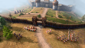 a group of people on a dirt road: Age of Empires 4: An army attacking a stronghold
