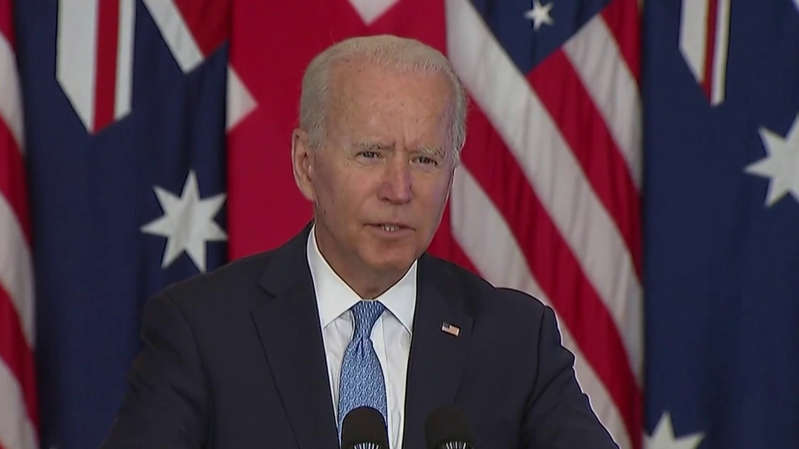 Joe Biden wearing a suit and tie in front of a flag