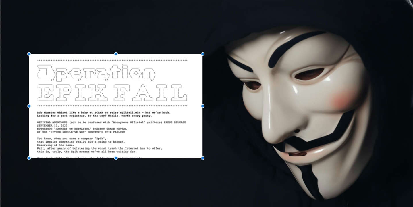 graphical user interface: anonymous mask worn by man in epikfail hack