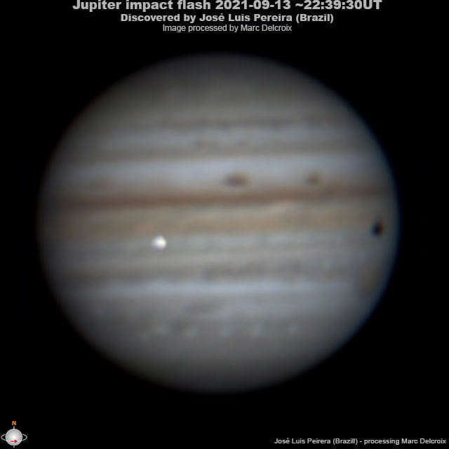 Astrophotographer José Luis Pereira of São Paulo, Brazil took this photo - and video - of an explosion as an object, likely a giant rock, hit Jupiter's atmosphere on Monday night (Sept. 13, 2021).