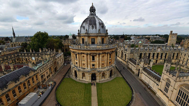 a bench in front of a building: Oxford University remained second, with St Andrews taking top spot. File pic