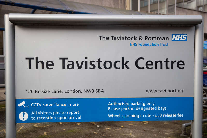 a blue sign sitting on the side of a building: The Tavistock Centre, London (Aaron Chown/PA Wire)
