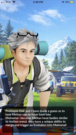 a woman holding a sign: Special Research stories involve completing tasks to help Professor Willow investigate mysterious Pokemon. Screenshot by CNET