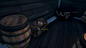 a close up of a barrel: The vanity chest can be found in the lower deck of your ship. Rare