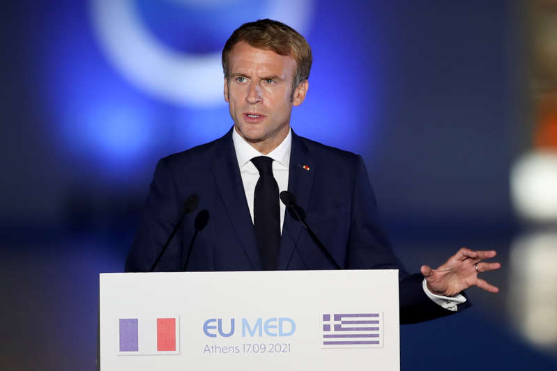 French President Emmanuel Macron delivers a statement during the 8th MED7 Mediterranean countries summit, in Athens, Greece, September 17, 2021. REUTERS/Costas Baltas