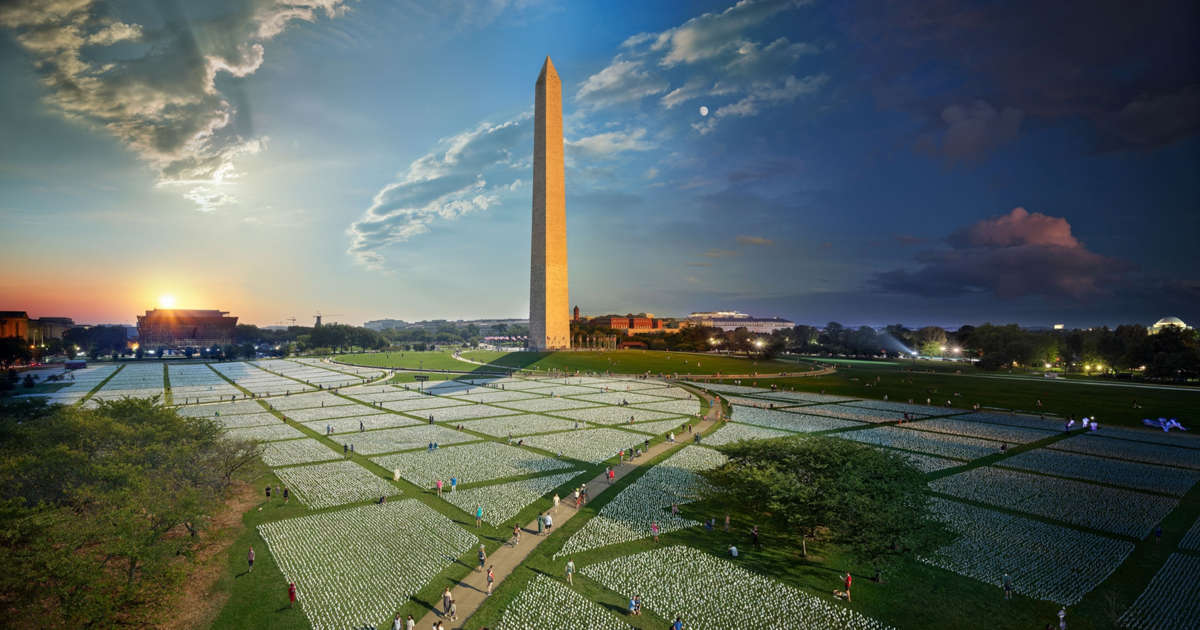 The epic COVID-19 memorial on the National Mall, in one stunning photo