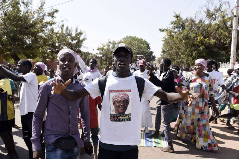 Supporters of newly elected President Umaro Sissoco Embalo celebrate in Bissau in January 2020.