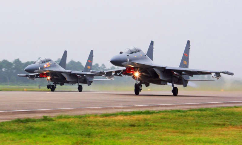 China sent a record number of military aircraft into Taiwan's air defence zone on Monday Photograph: Jin Danhua/AP