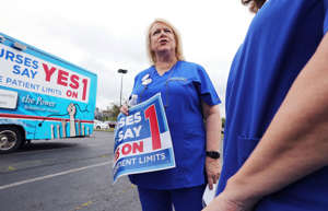Donna Kelly-Williams, president of the Massachusetts Nurses Association, which in 2018 backed a ballot initiative that called for minimum levels of nurse staffing statewide. The initiative was defeated.