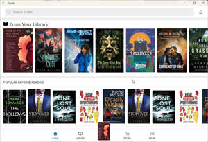 The Android Kindle app running on Windows