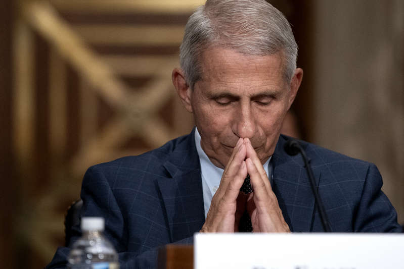 Dr. Anthony Fauci, Director of the National Institute of Allergy and Infectious Diseases, listens during a Senate Health, Education, Labor, and Pensions Committee hearing at the Dirksen Senate Office Building on July 20, 2021 in Washington, DC. A group of lawmakers is seeking answers from Fauci about experiments on puppies.