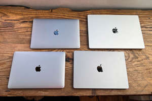 The 2020 Air and 13-inch Pro, along with the 2021 14-inch and 16-inch Pro. Dan Ackerman/CNET