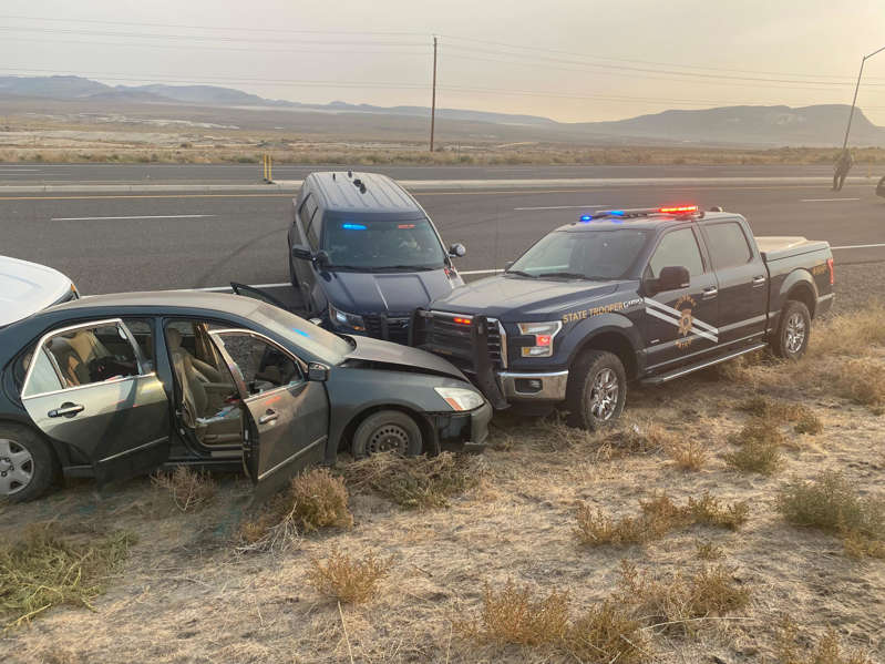 The vehicle of Jose Delacruz, 35, is shown after police pursued Delacruz for 40 miles from Reno to Fernley on Tuesday, Oct. 5 after his reported involvement in an assault with a deadly weapon. Delacruz was arrested on multiple charges that include possession of a stolen vehicle, reckless driving, assault with a deadly weapon and more.