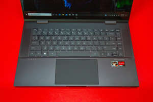 The keyboard has a fingerprint reader squeezed into the right side of the bottom row. Sarah Tew/CNET