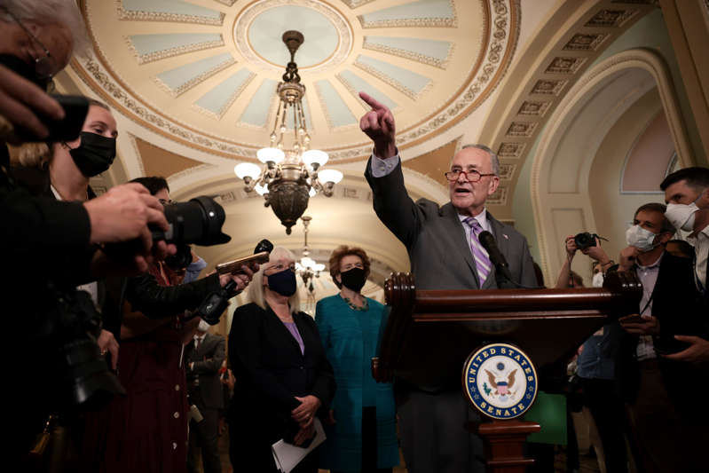 *** BESTPIX *** WASHINGTON, DC - OCTOBER 05: Senate Majority Leader Chuck Schumer (D-NY) calls on reporters following a weekly Democratic policy luncheon on October 05, 2021 in Washington, DC. Leader Schumer said he will bring a vote on a debt limit increase later this week, in an attempt to ensure the U.S. does not default on its debt, which Senate Republicans are expected to block. (Photo by Anna Moneymaker/Getty Images) ORG XMIT: 775720576 ORIG FILE ID: 1345001960