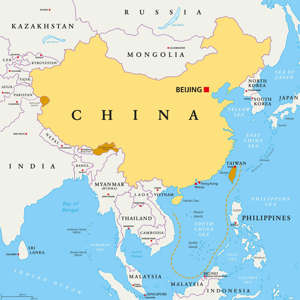 A map shows in yellow the area controlled by China, and regions that are claimed but uncontrolled by Beijing are shown in orange, including most of the South China Sea. / Credit: Getty/iStockphoto