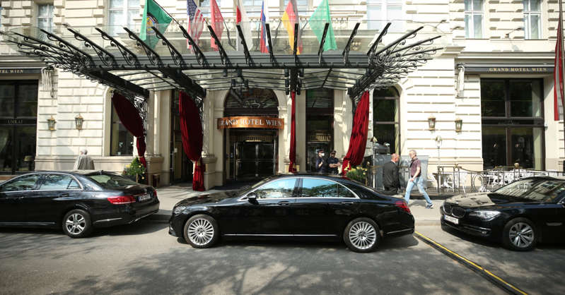 Official cars are seen outside Grand Hotel Wien after a session of meeting of the Joint Comprehensive Plan of Action (JCPOA) on