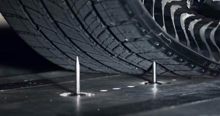 Big deal. Nails in an airless tire are virtually meaningless. Michelin