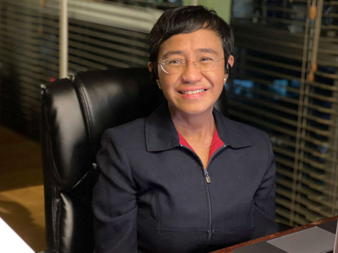 Rappler editor Maria Ressa reacts on hearing that she has been awarded the Nobel Peace Prize (Rappler via AP)