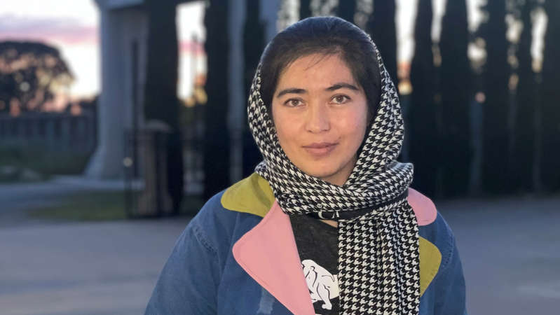 Former Afghan fighter pilot student Zahra Samar is glad to be in Australia. (ABC News: Gabriella Marchant)