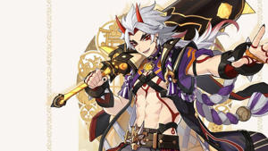 An illustration of the Genshin Impact character Arataki Itto carrying a club.