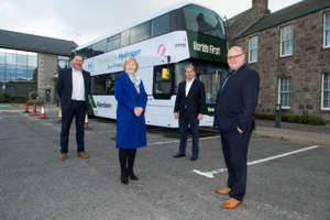 Jo Bamford of Wrightbus (2nd R) with delegates involved in the company's £8.3m project in Aberdeen. Photo: Aberdeen City Council