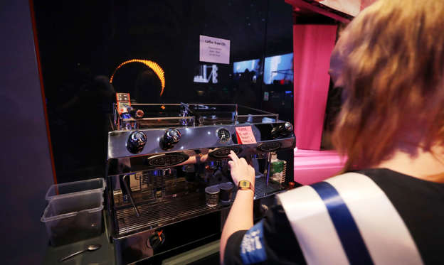 A coffee machine powered by CO2 at the Finland pavilion.