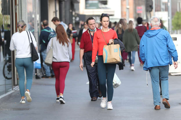 Shoppers on the High Street in Limerick (Niall Carson/PA)