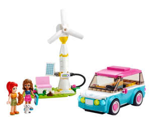 Olivia's Electric Car set includes a buildable car with spinning wheels, a charging station and two mini dolls.