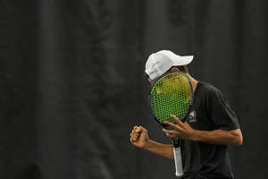 Brother Rice's Dimitri Moriarty reacts after getting a set point during the MHSAA Division 1 state tennis finals at the Markin Tennis Center on the campus of Kalamazoo College at Kalamazoo, Michigan on Thursday, Oct. 14, 2021. Friday matches were moved inside due to rain.