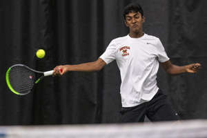 Northville's Sachiv Kumar during the MHSAA Division 1 state tennis finals at the Markin Tennis Center on the campus of Kalamazoo College at Kalamazoo, Michigan on Thursday, Oct. 14, 2021. Friday matches were moved inside due to rain.