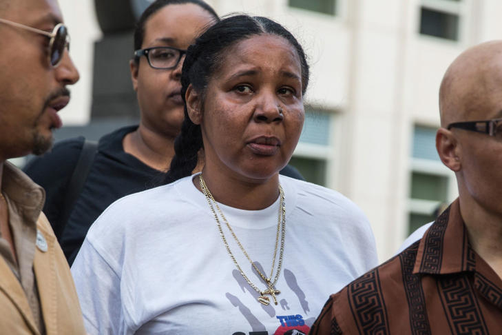Esaw Garner, wife of Eric Garner, joins protesters demanding further action against the police officers responsible in the death of Eric Garner outside the federal court house on May 29, 2015 in the Brooklyn borough of New York City.