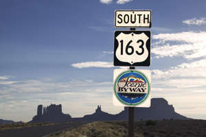 Road sign in Monument Valley Navajo Tribal Park.
