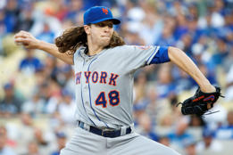 Jacob deGrom of the New York Mets pitches in the first inning against the Los Angeles Dodgers in game five of the National League Division Series at Dodger Stadium on Oct. 15 in Los Angeles, California.